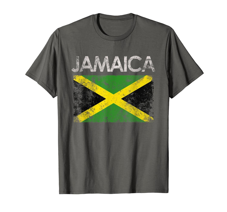 Vintage Jamaica Jamaican Flag Pride Gift T-Shirt-TH