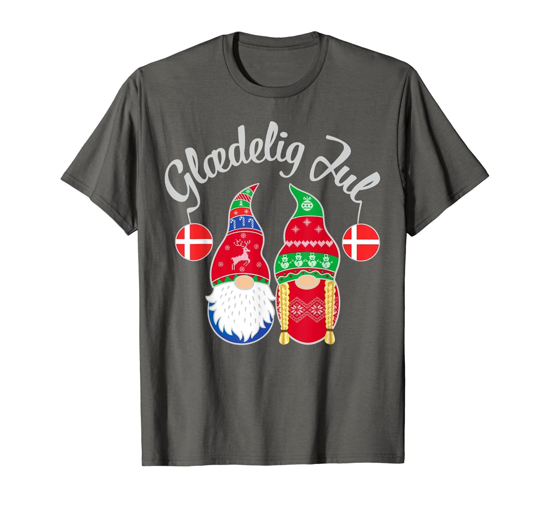 Glaedelig Jul Danish Merry Christmas Denmark Nisse T-Shirt-TH