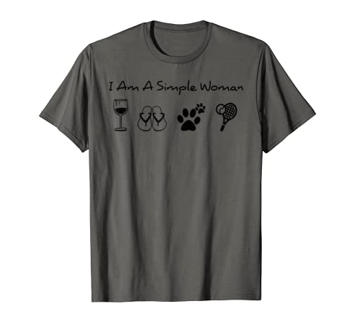 I Am A Simple Woman T Shirt Funny Woman Loves Dog Drinking