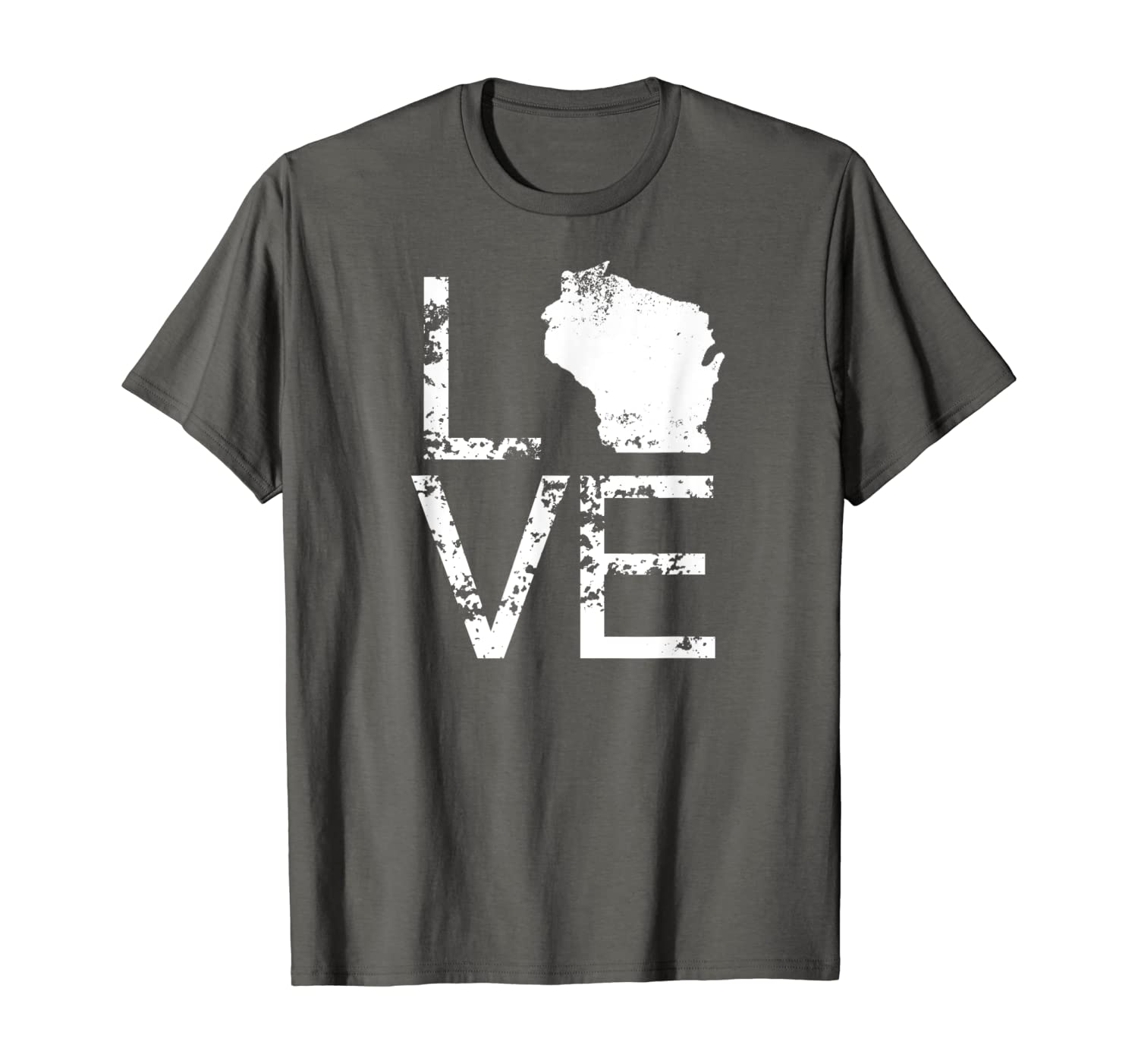 Vintage Wisconsin Love Map In Place Of O WI State T-Shirt