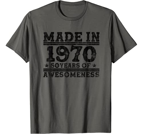 Vintage Made In 1970 50 Yrs Old Birthday Gift For Men Woman T Shirt