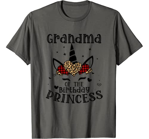 Grandma Of The Birthday Princess Gift Cute Unicorn Face Girl T Shirt