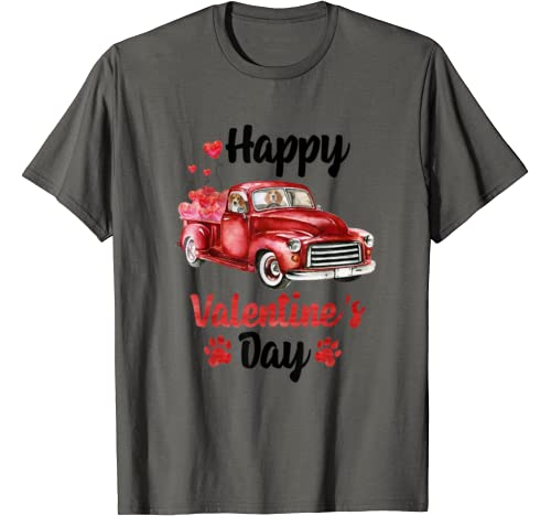 Beagle Riding Red Truck With Hearts Valentine's Day T Shirt