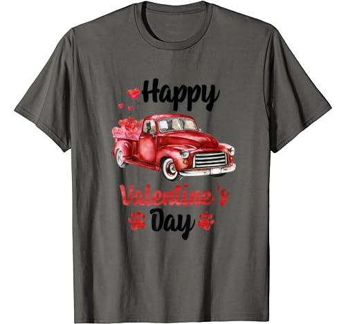 Doberman Pinscher Ride Red Truck With Hearts Valentine's Day T Shirt