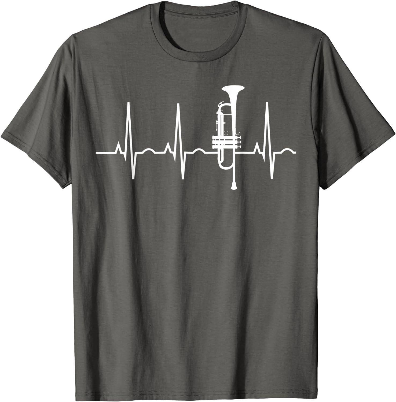 Trompete Herzschlag Heartbeat Geschenk f/ür Trompetenspieler Langarmshirt