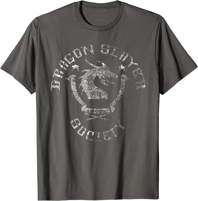 Dragon Slayer Society - Distressed Faded Nerd & Geek T Shirt