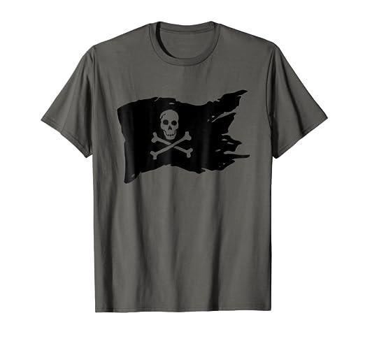8580f83b Amazon.com: Skull Pirate Flag T-shirt jolly roger Crossbones Tee ...