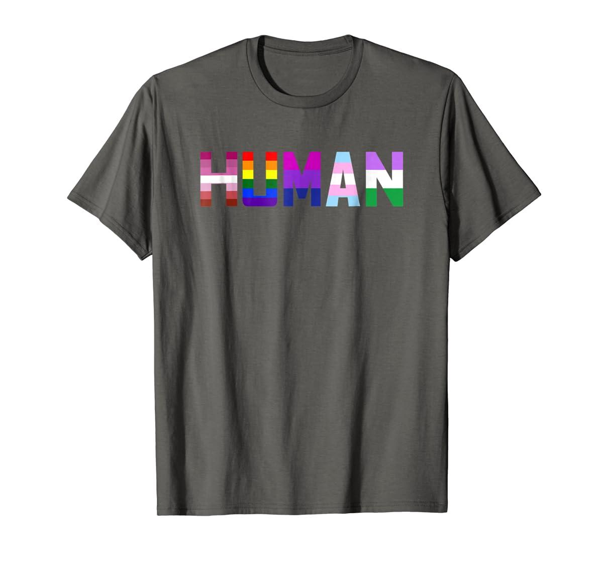 HUMAN Flag LGBT Gay Pride Month Transgender Ally T Shirt-Men's T-Shirt-Dark Heather