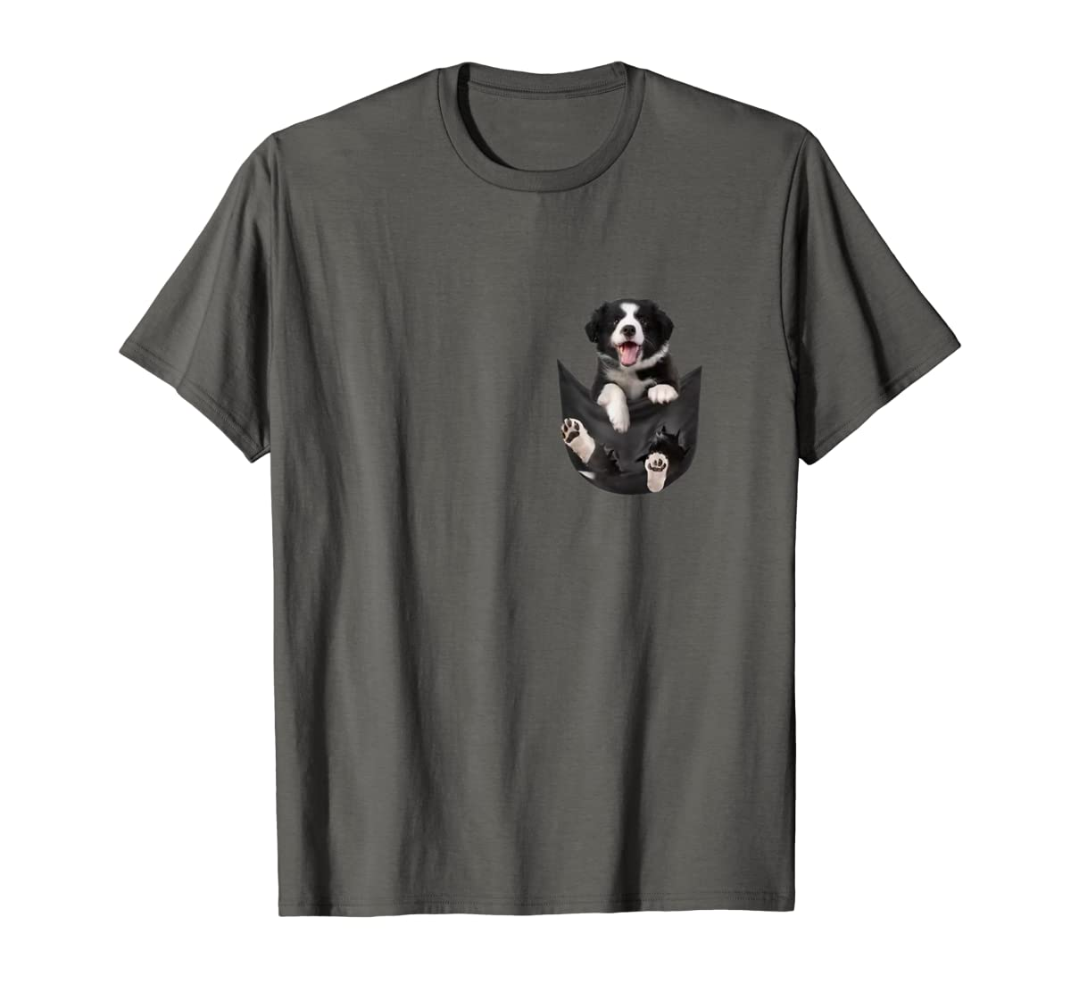 Border Collies Inside In Pocket Dog Lover T shirt Funny Cute-Men's T-Shirt-Dark Heather