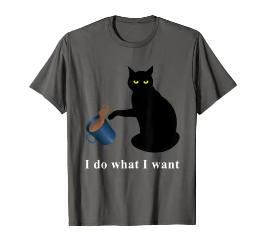 81e55d94f Image Unavailable. Image not available for. Color: Funny Black Cat T-Shirt  Do What I Want ...