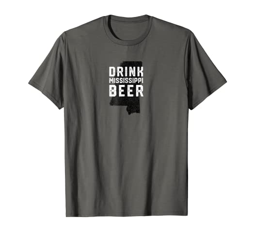 amazon com drink local mississippi craft beer state outline t shirt