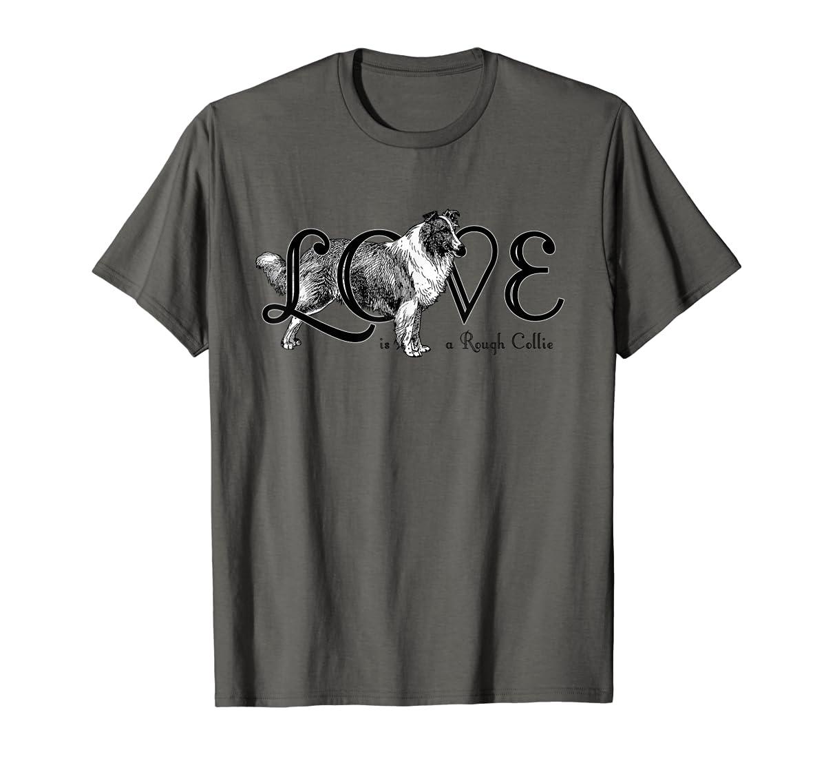 Love is a Rough Collie T-Shirt-Men's T-Shirt-Dark Heather