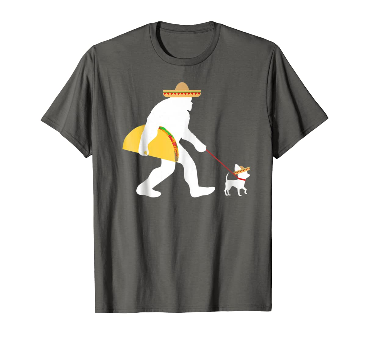 Bigfoot Taco Sombrero Chihuahua Dog Cinco de Mayo T-shirt-Men's T-Shirt-Dark Heather