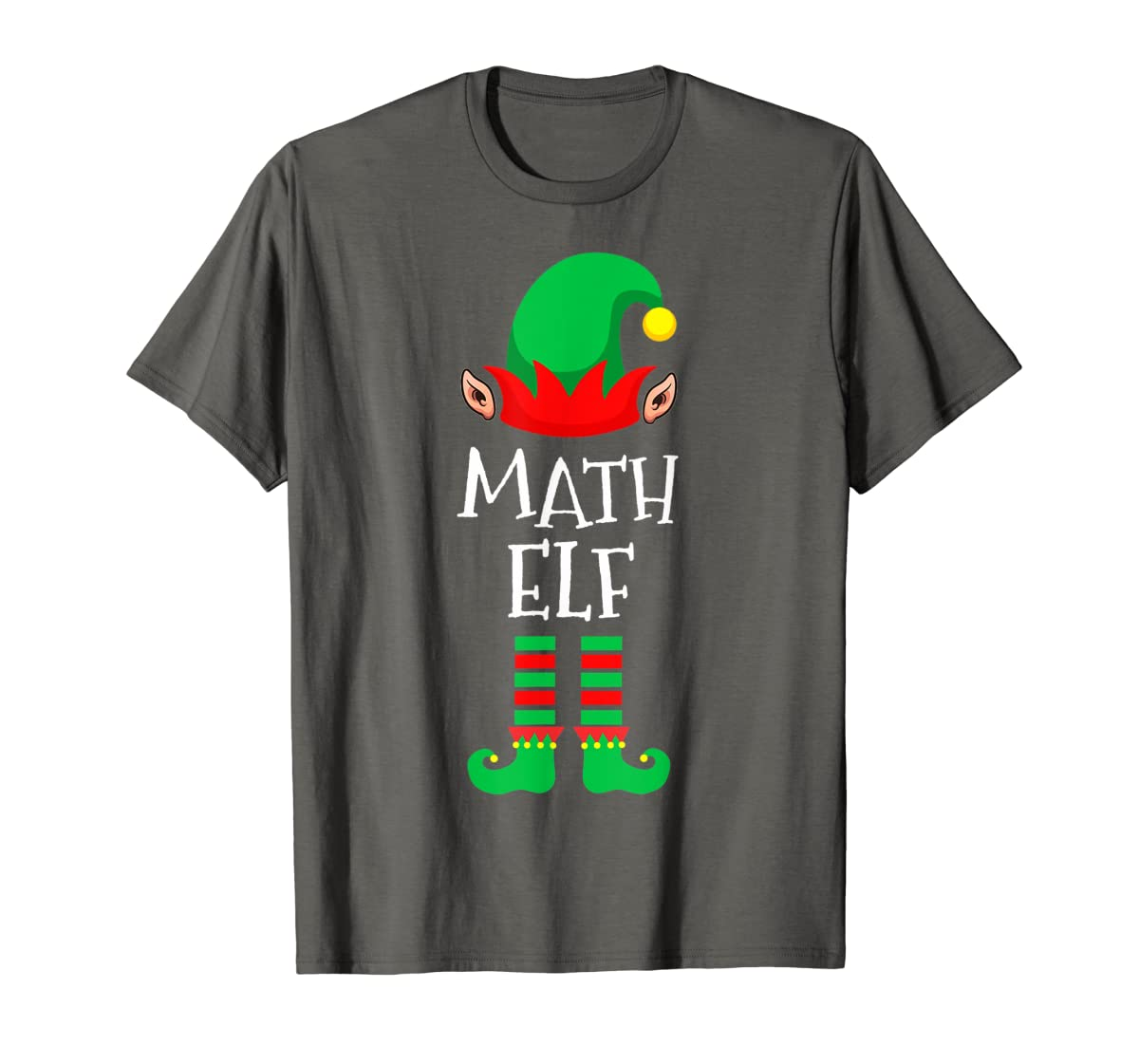 Math Elf - Funny School Teacher Christmas T-Shirt-Men's T-Shirt-Dark Heather