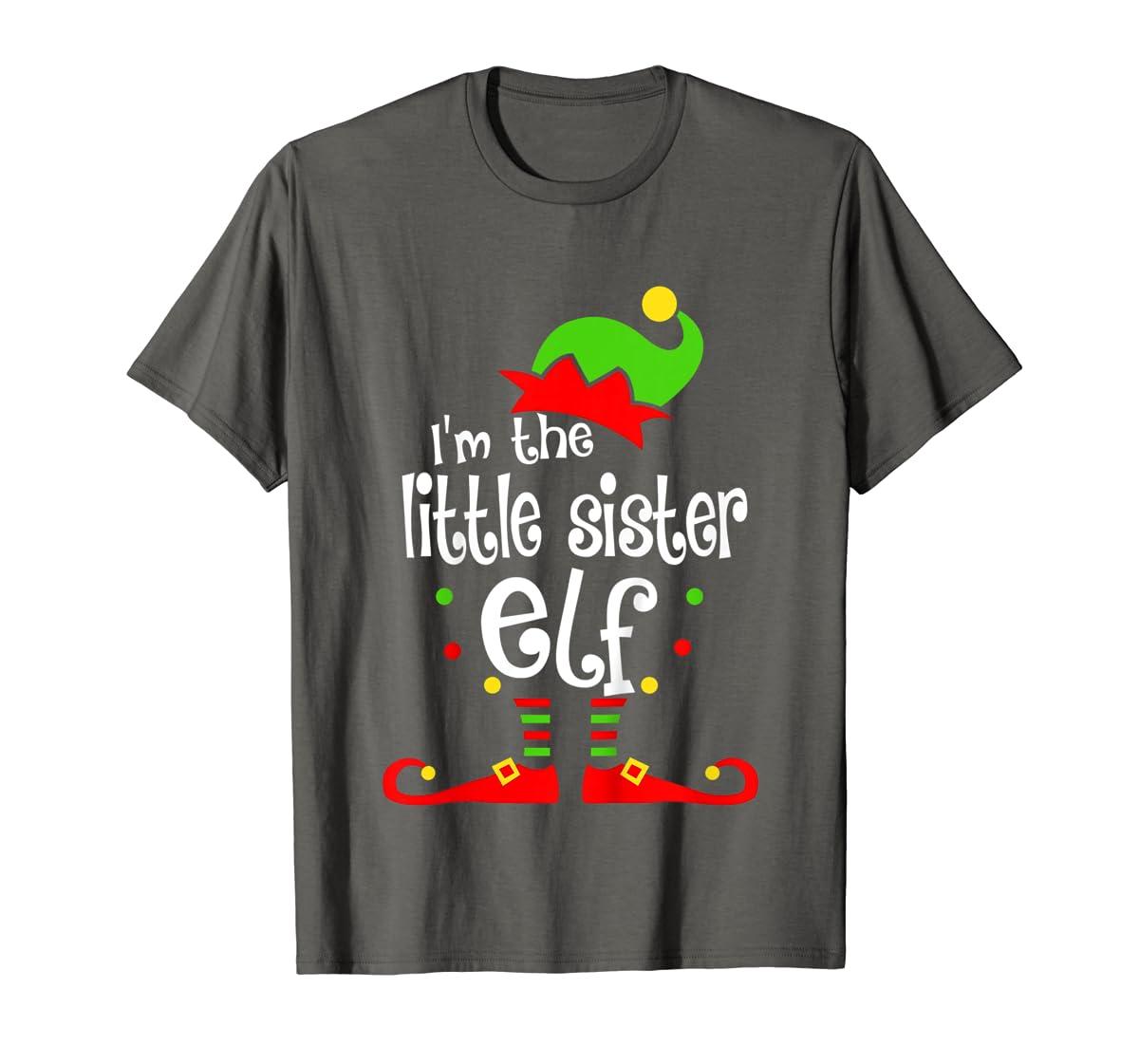 Kids Little Sister Elf Christmas Costume Outfit Xmas Gift T-Shirt-Men's T-Shirt-Dark Heather