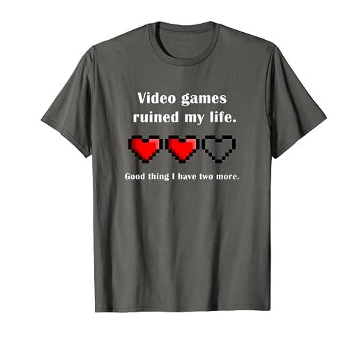 b48b93322 Amazon.com  Video games ruined my life t-shirt gamer shirt  Clothing
