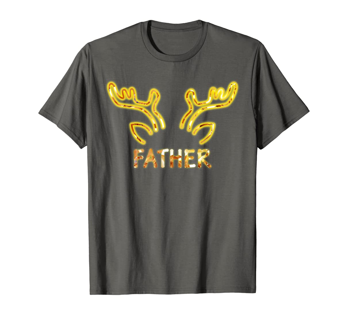 Father Reindeer Matching Family Christmas T-Shirt T-Shirt-Men's T-Shirt-Dark Heather
