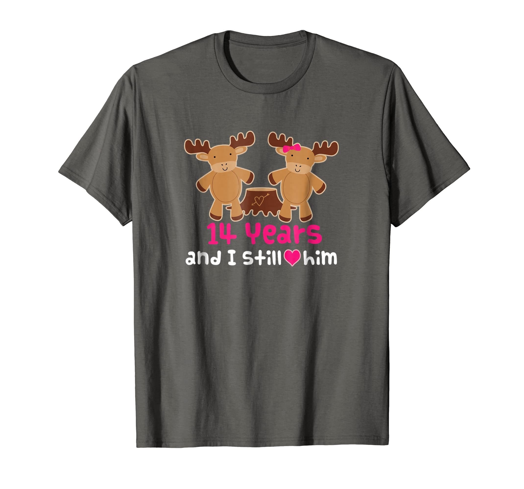 5227a9f38e Amazon.com: 14th Anniversary T-shirt Funny Moose Couples Gift Tee: Clothing