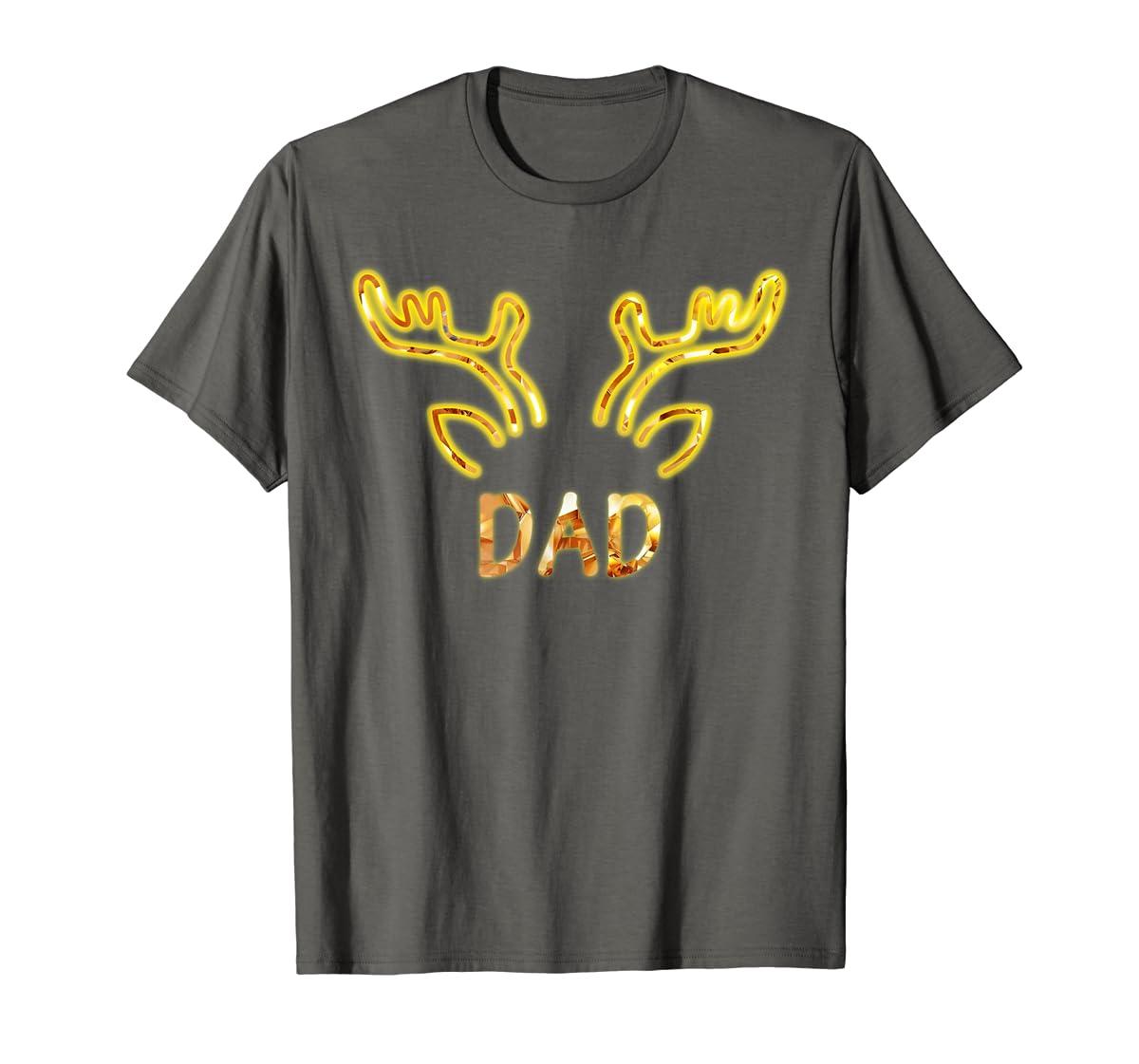 Dad Reindeer Matching Family Christmas T-Shirt T-Shirt-Men's T-Shirt-Dark Heather