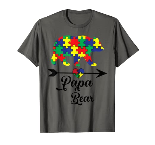 3c8c4bc9 Image Unavailable. Image not available for. Color: Papa Bear Puzzle Autism  Awareness Shirt ...