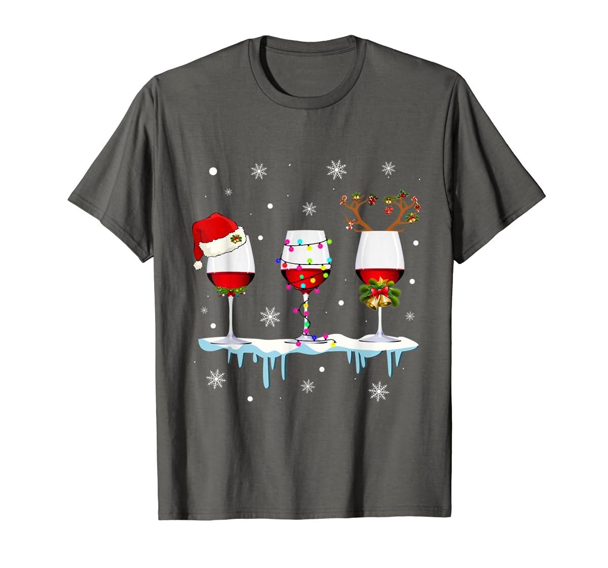 Three Glass of Red Wine Santa Hat Christmas T-Shirt-Men's T-Shirt-Dark Heather