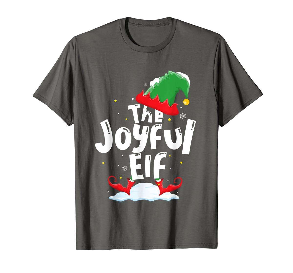 The Joyful Elf Group Matching Family Christmas Gifts Holiday T-Shirt-Men's T-Shirt-Dark Heather