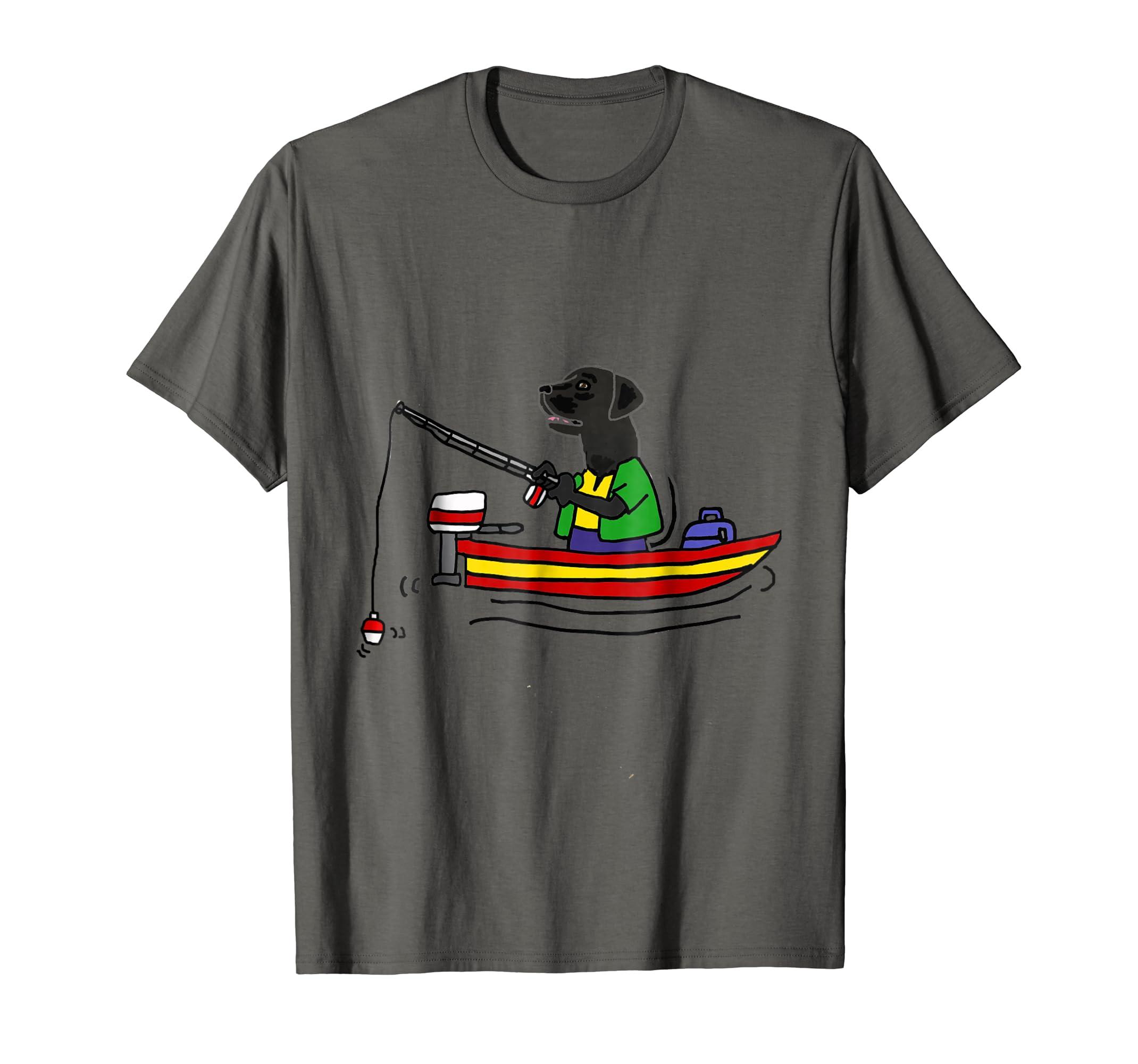 SmileteesHob Funny Black Labrador Retriever Fishing T-shirt-fa