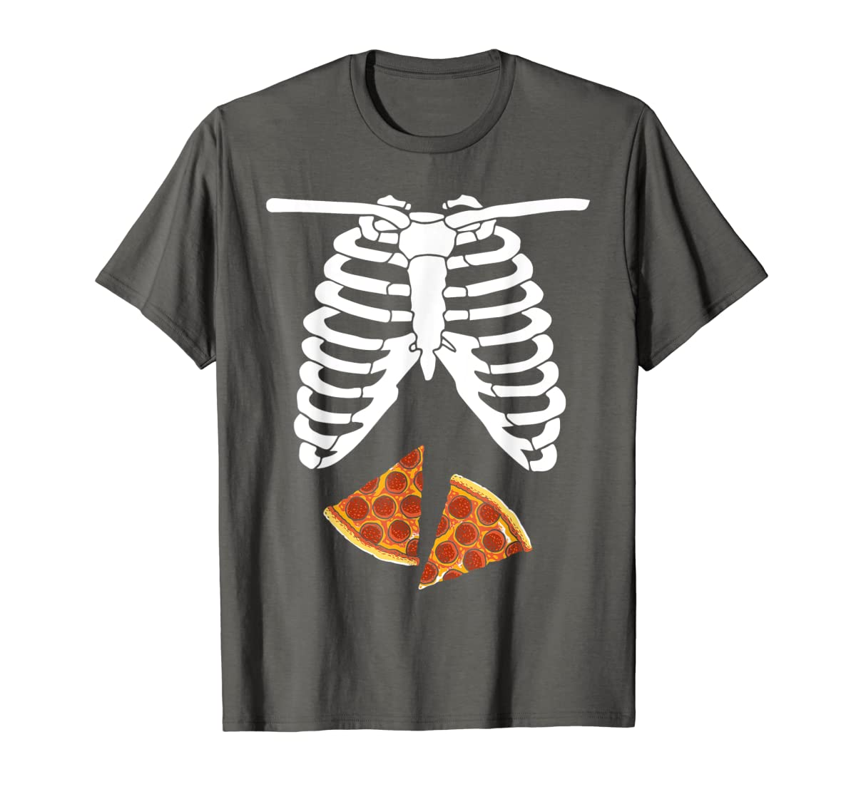 Halloween Skeleton Xray Pizza Slices Costume Rib Cage Easy T-Shirt-Men's T-Shirt-Dark Heather