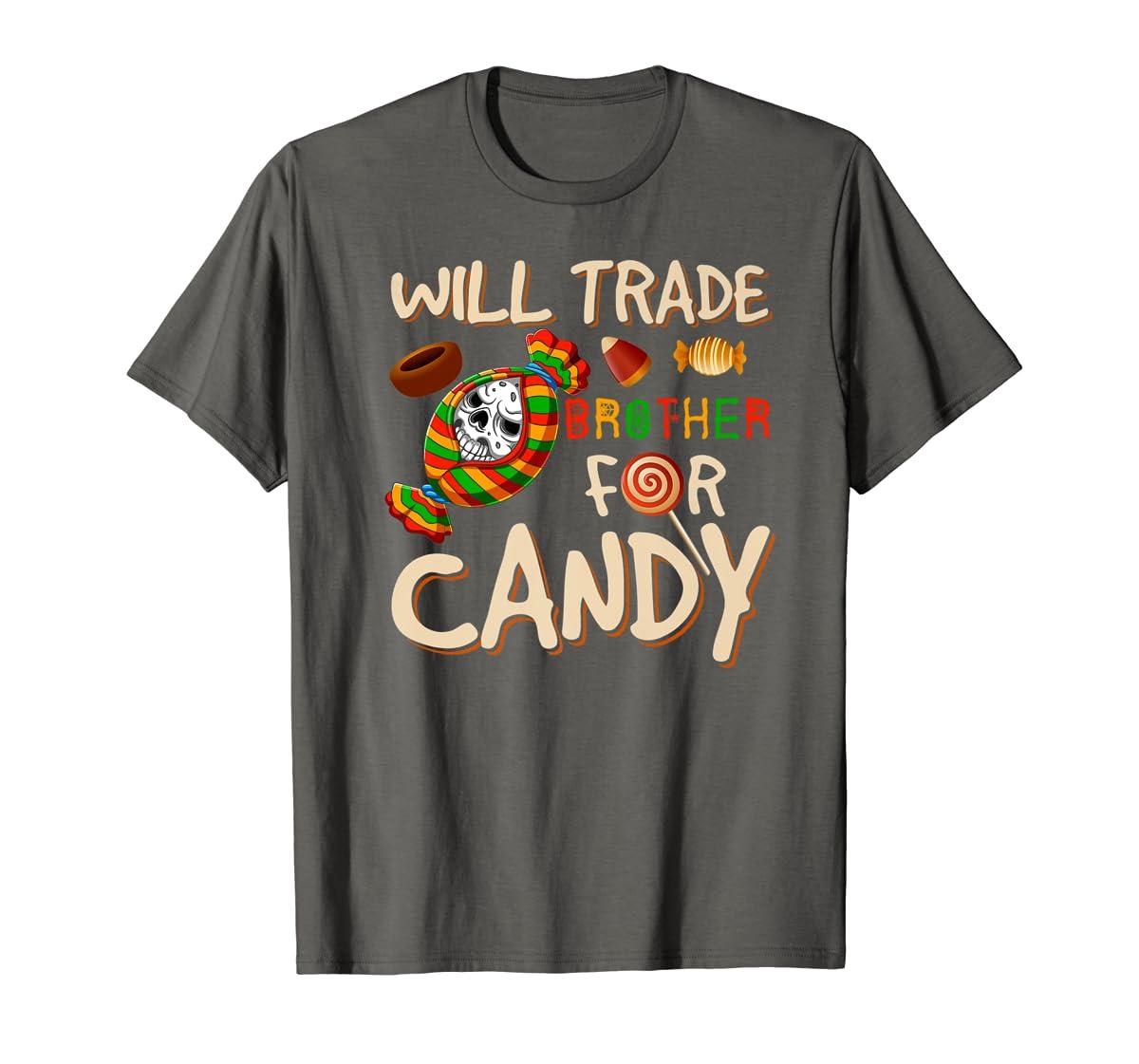 Will Trade Brother For Candy Halloween Premium T-Shirt-Men's T-Shirt-Dark Heather
