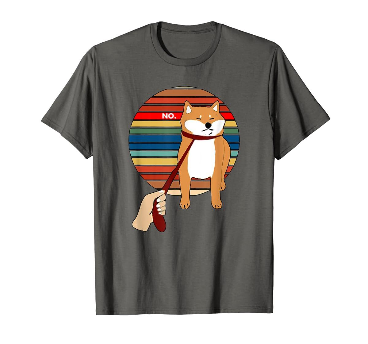 Cute Vintage Retro Shiba Inu Nope Dog Tee Shirt-Men's T-Shirt-Dark Heather