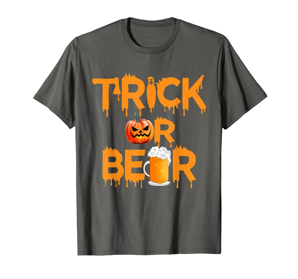 Halloween Costume Trick or Beer Drinking T Shirt Pumpkin Men T-Shirt-Men's T-Shirt-Dark Heather