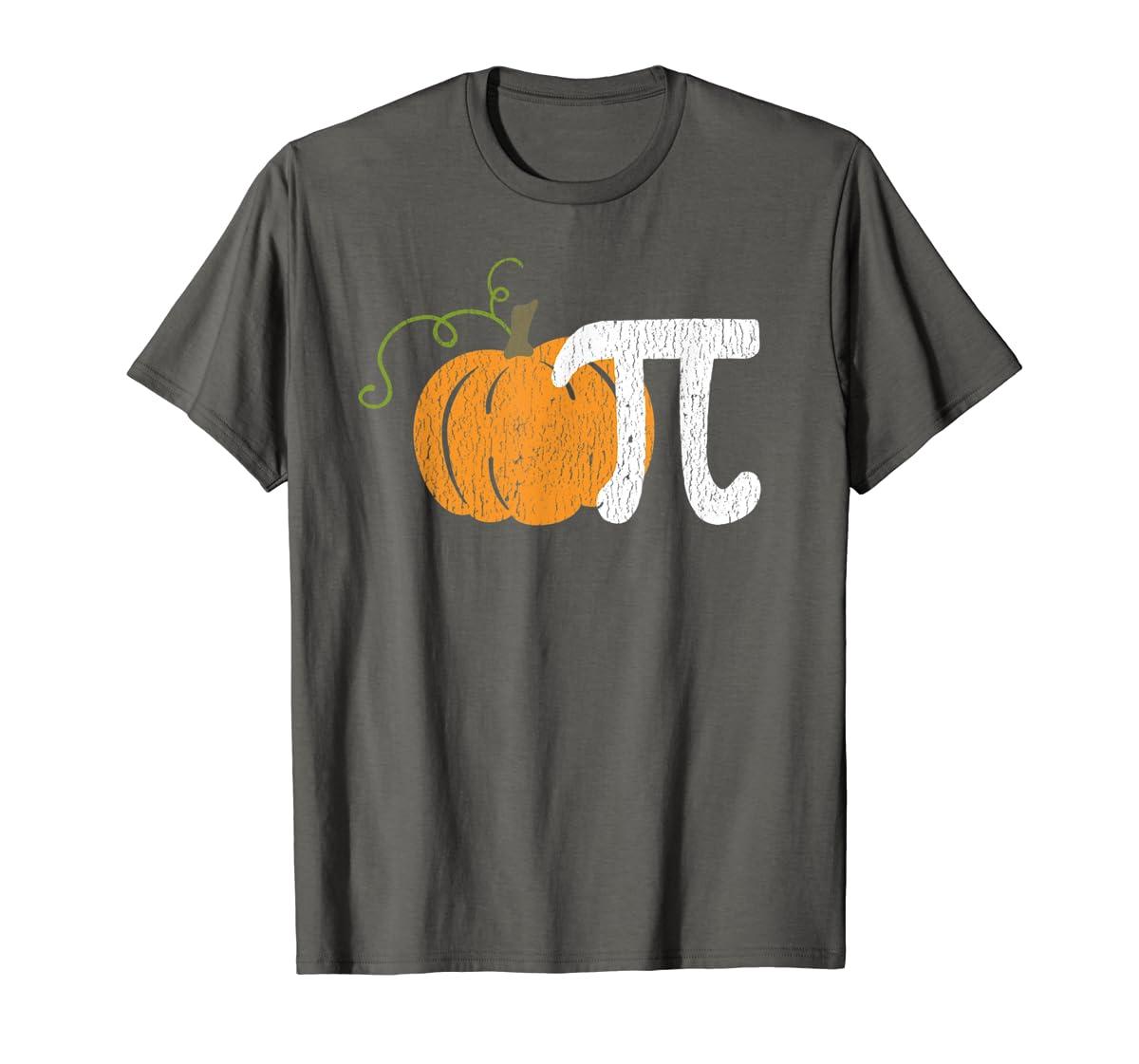Funny Pumpkin Pie Math Teacher Halloween Pi Humor T-Shirt-Men's T-Shirt-Dark Heather