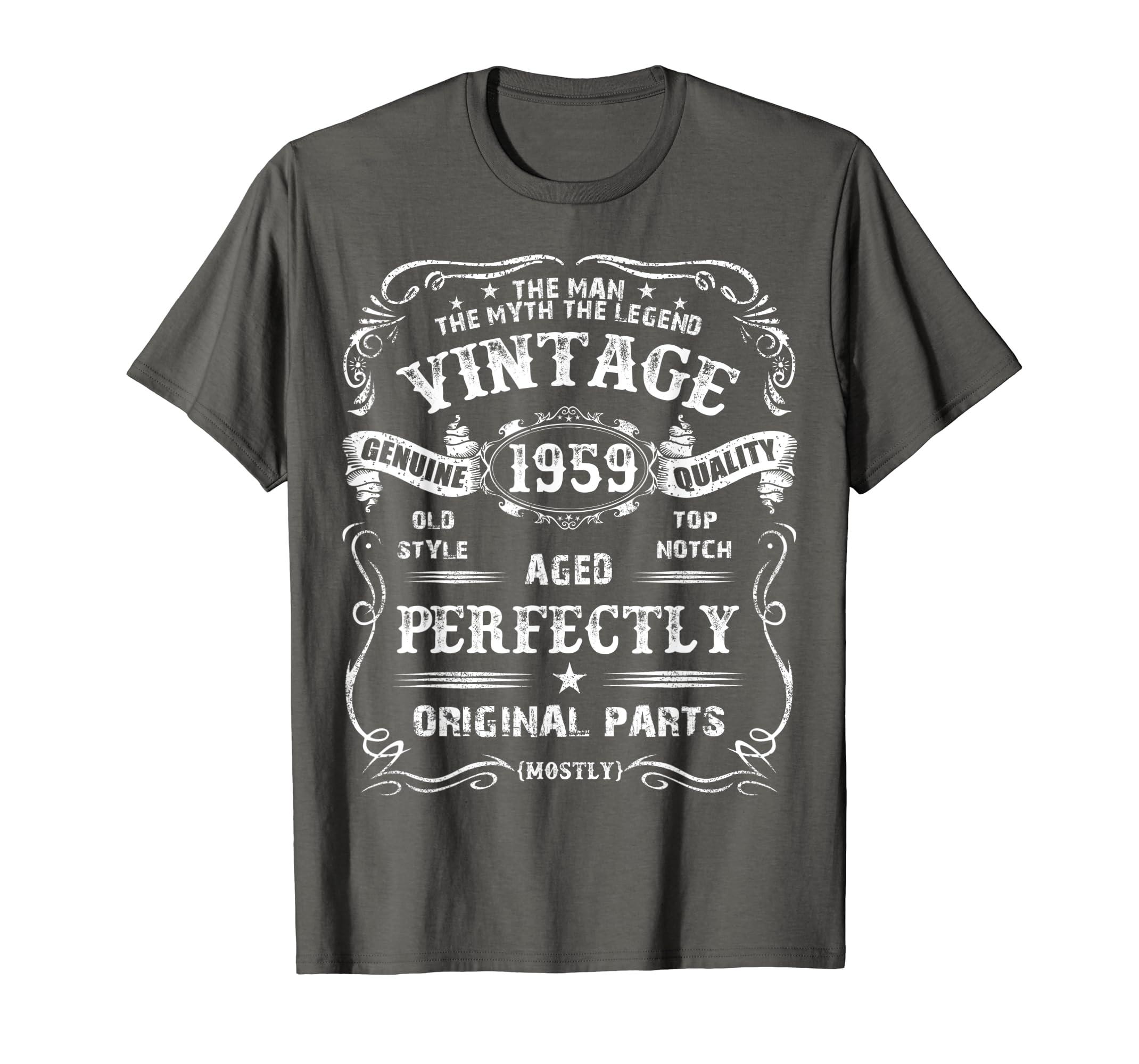 Amazon Mens 60th Birthday T Shirt Legend Vintage 1959 Original Parts Tee Clothing