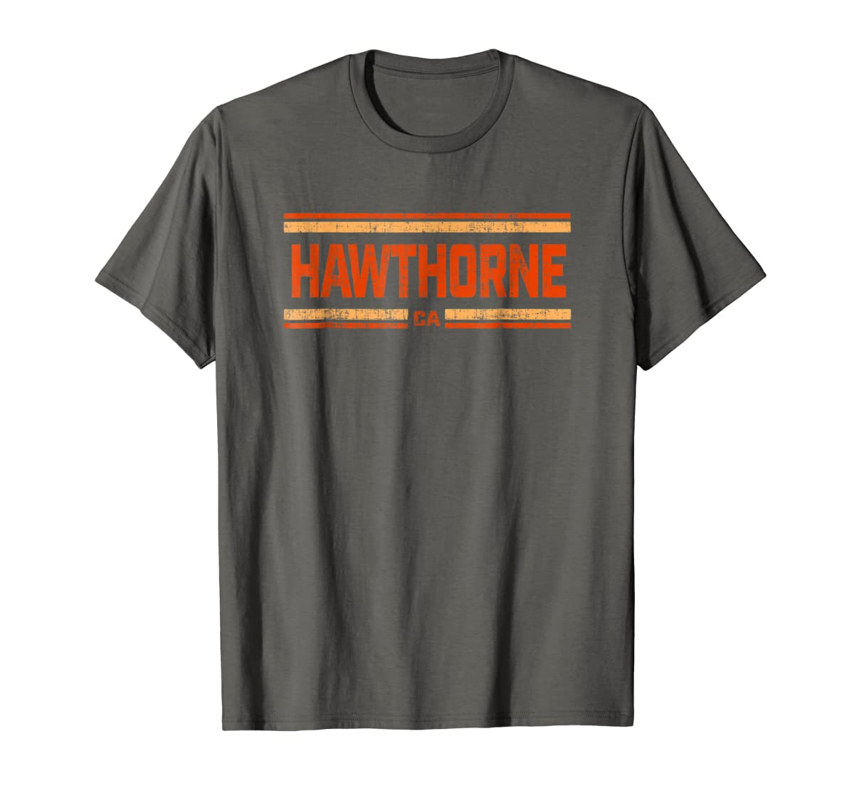 Retro Vintage Hawthorne CA Distressed T-Shirt-Men's T-Shirt-Dark Heather