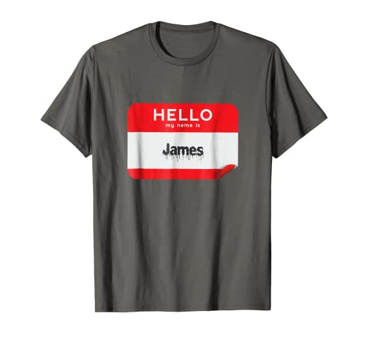hello my name is james funny halloween party name tag shirt