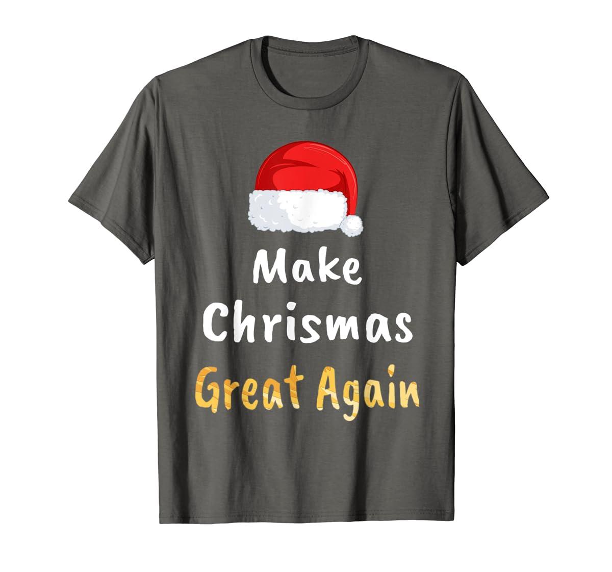 Awesome Make Christmas Great Again Trump Hat Xmas Gift T-Shirt-Men's T-Shirt-Dark Heather