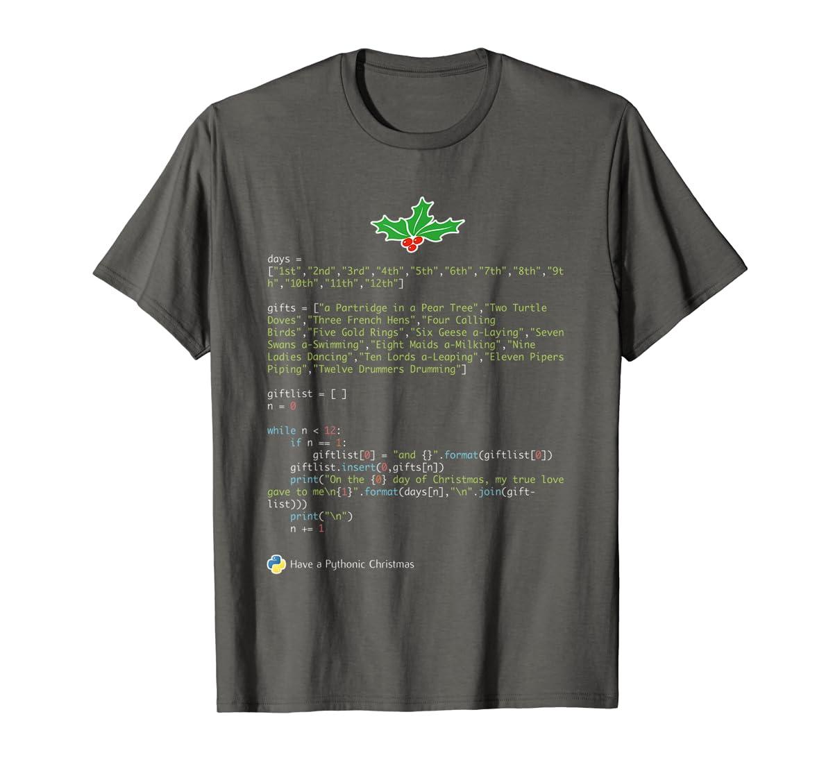 Geek Christmas Xmas - 12 Days of Python T-Shirt-Men's T-Shirt-Dark Heather