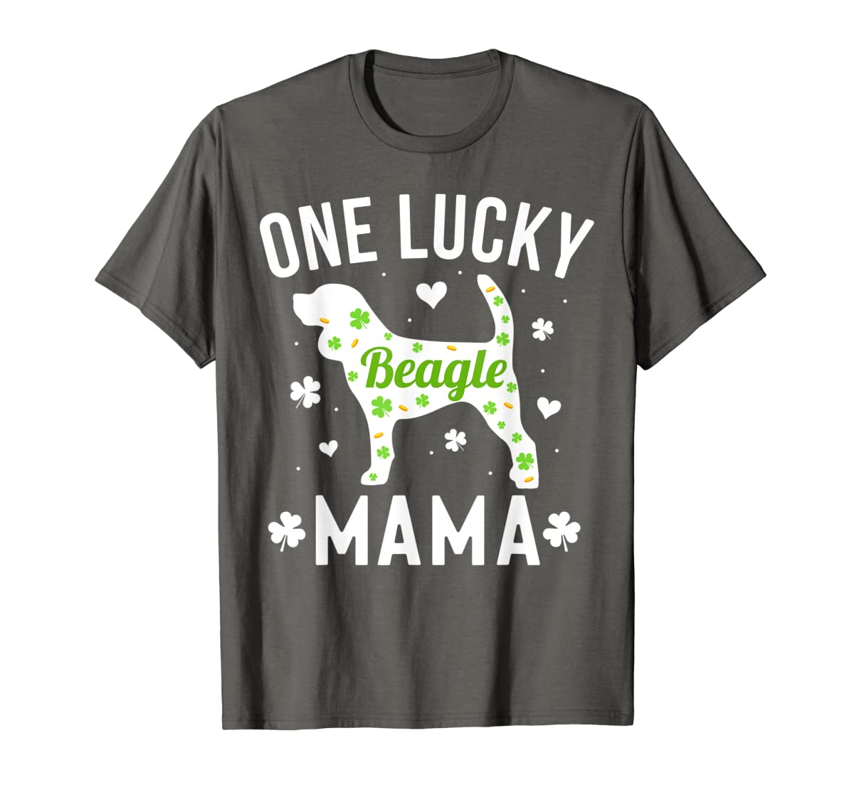St Patricks Day Beagle Shirt Lucky Mama Mom Dog Gift Tee-Men's T-Shirt-Dark Heather