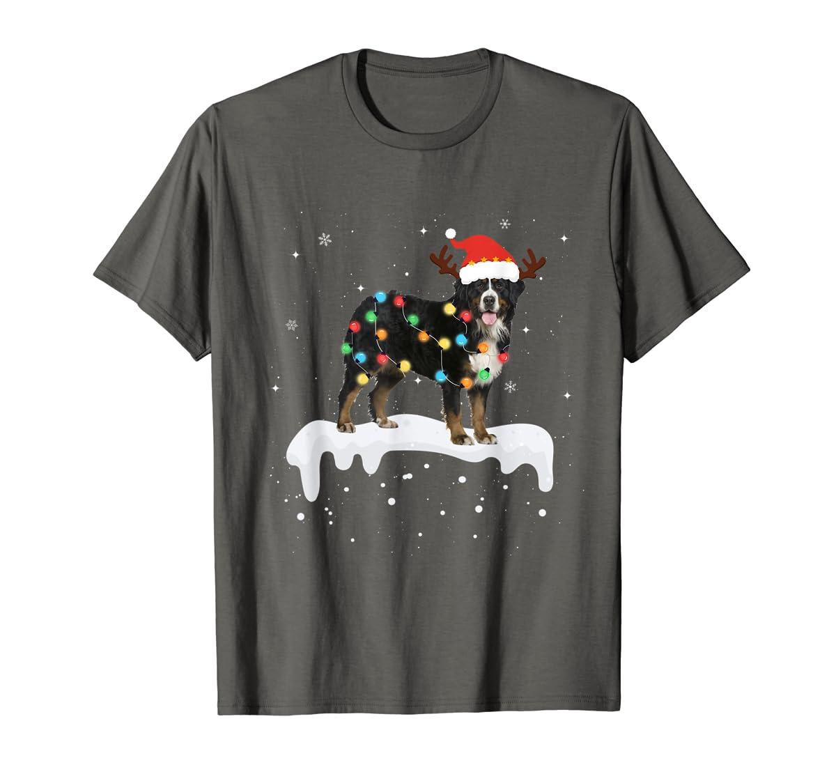 Bernese Mountain Christmas Lights Cute Dog Lover Gift T-Shirt-Men's T-Shirt-Dark Heather