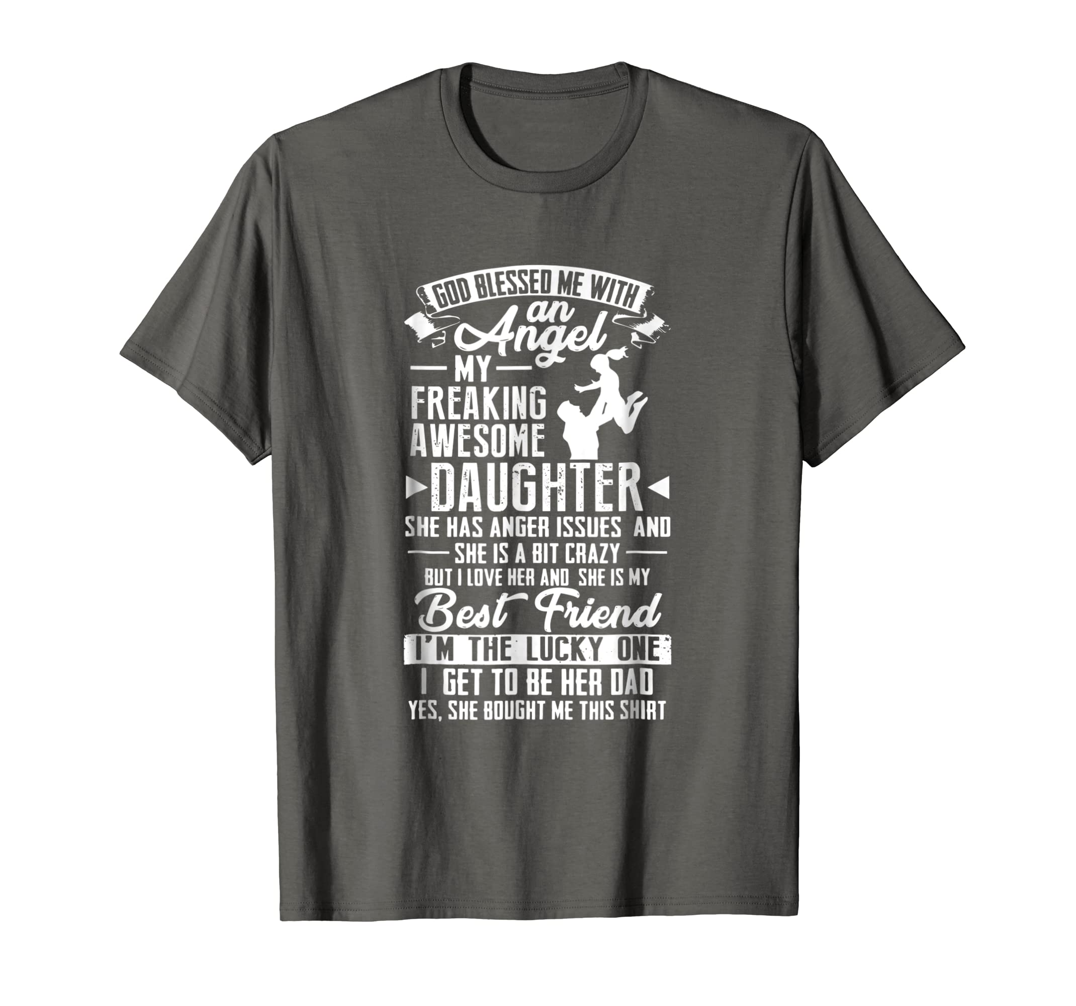 246332fb Amazon.com: Mens My Freaking Awesome Daughter Bought Me This Shirt Angel Tee:  Clothing