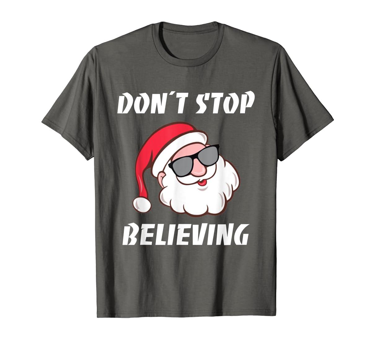 Don't Stop Believing Santa Claus Christmas T-Shirt-Men's T-Shirt-Dark Heather