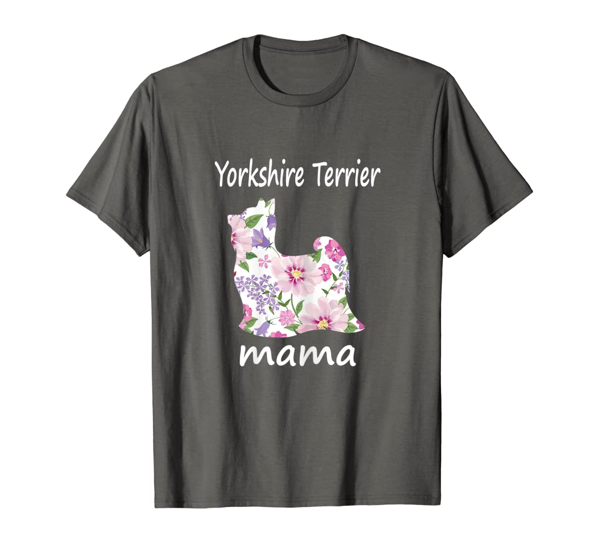 Womens Yorkshire Terrier Mama Decorative Flowers Dog Lover Mom T-Shirt-Men's T-Shirt-Dark Heather