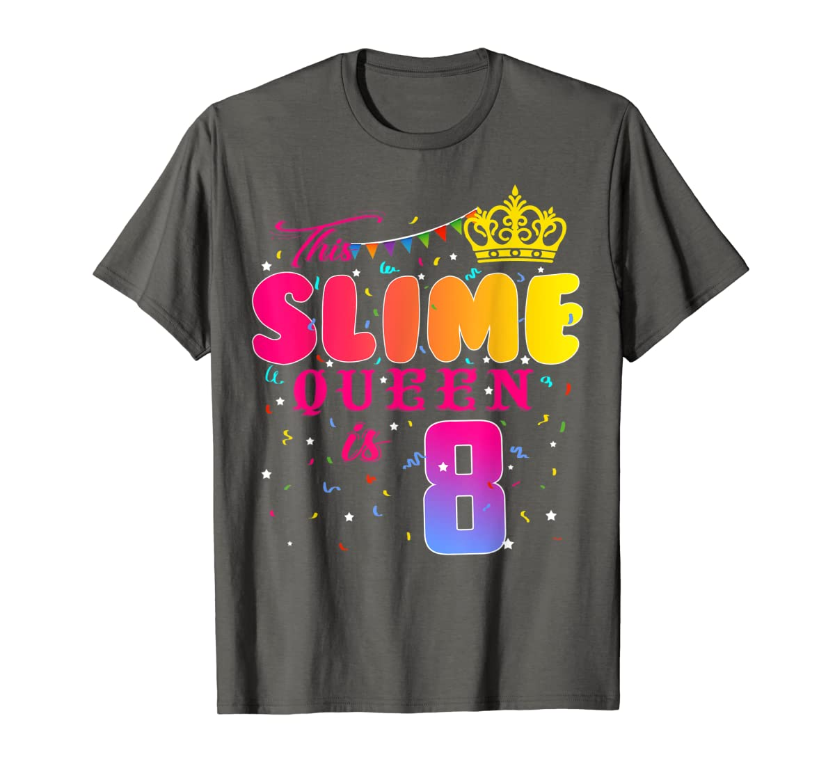 8 Years Old 8th Birthday Slime Queen Shirt Girl Gift Party-Men's T-Shirt-Dark Heather