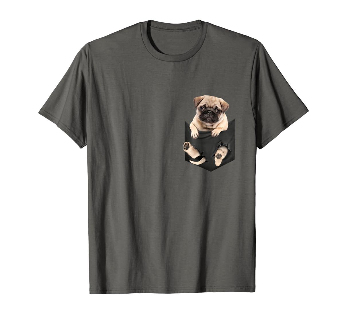 Dog in Your Pocket santa hat pug lover gift shirt-Men's T-Shirt-Dark Heather