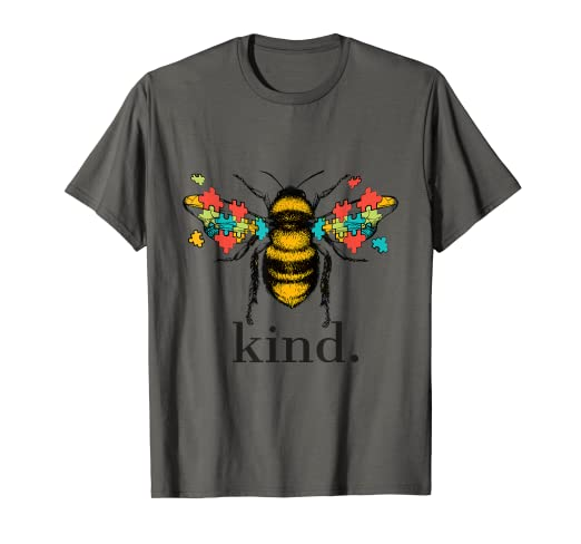 18c420d8 Image Unavailable. Image not available for. Color: Autism Awareness Bee  Kind Puzzle Pieces T Shirt