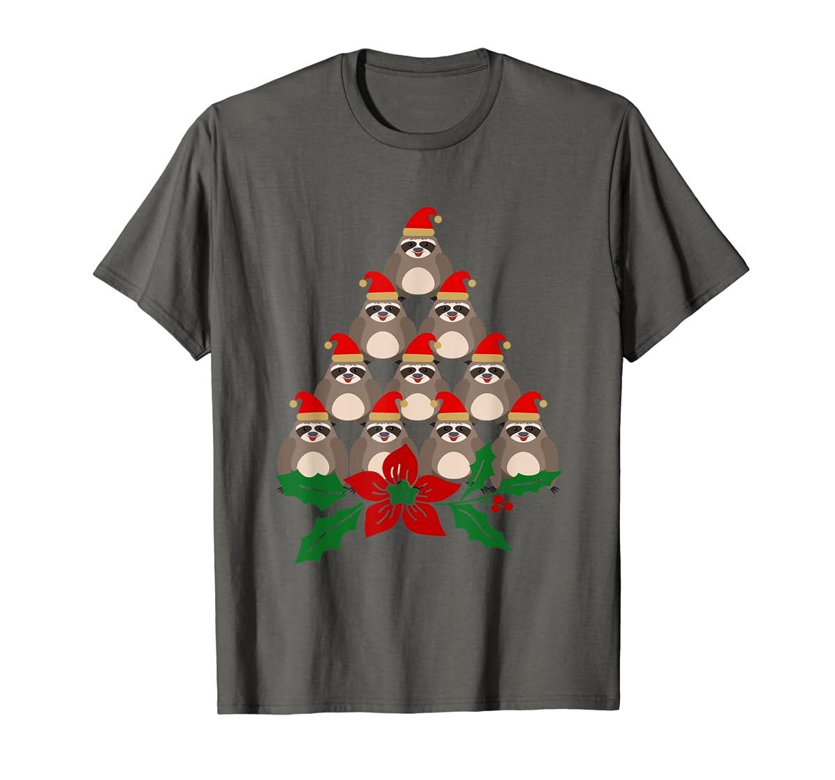 Sloth Christmas Tree Xmas Lover T-Shirt-Men's T-Shirt-Dark Heather