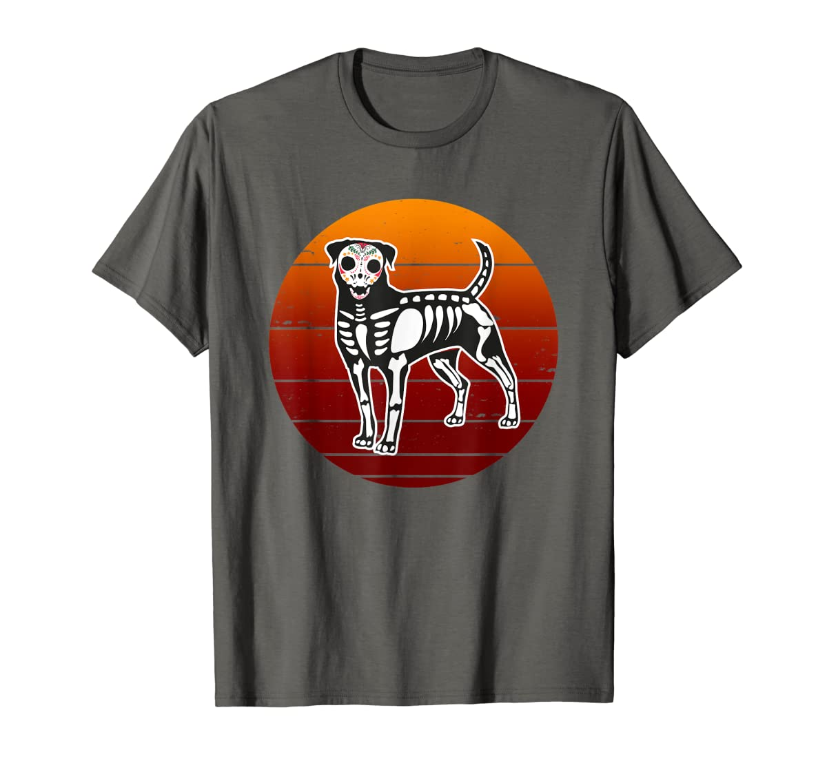 Rottweiler Skeleton Halloween T-Shirt-Men's T-Shirt-Dark Heather