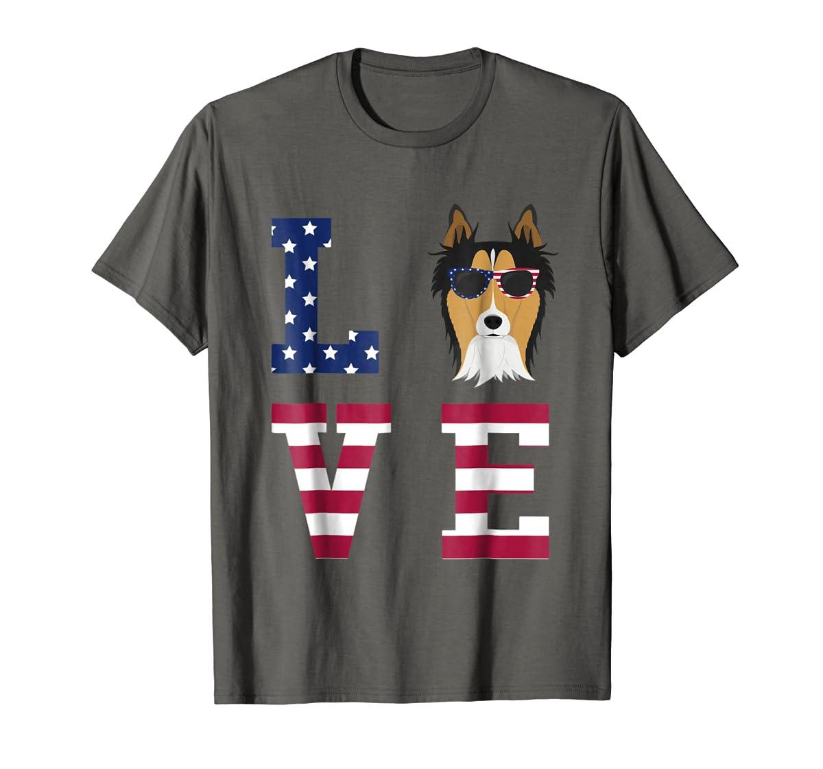 Collie Dog - 4th Of July T-Shirt-Men's T-Shirt-Dark Heather