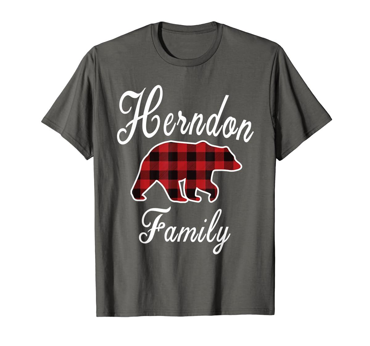 HERNDON Family Bear Red Plaid Christmas Pajama Gift T-Shirt-Men's T-Shirt-Dark Heather
