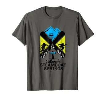 8ec59938c9 Image Unavailable. Image not available for. Color  Steamboat Springs ski t  shirt skiing   snowboard accessories